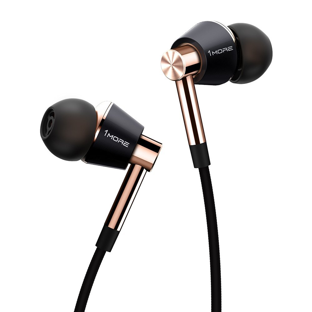 1MORE E1001 Triple Driver In-Ear Headphones for Apple and Android (3.5mm Headphone Plug) - Black/Gold