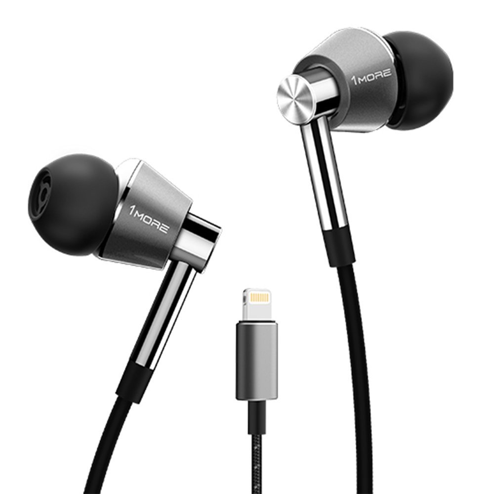 1MORE Triple driver In-Ear Headphones Hi-Res Audio Earphones with Microphone , Silver- only iOS compatible