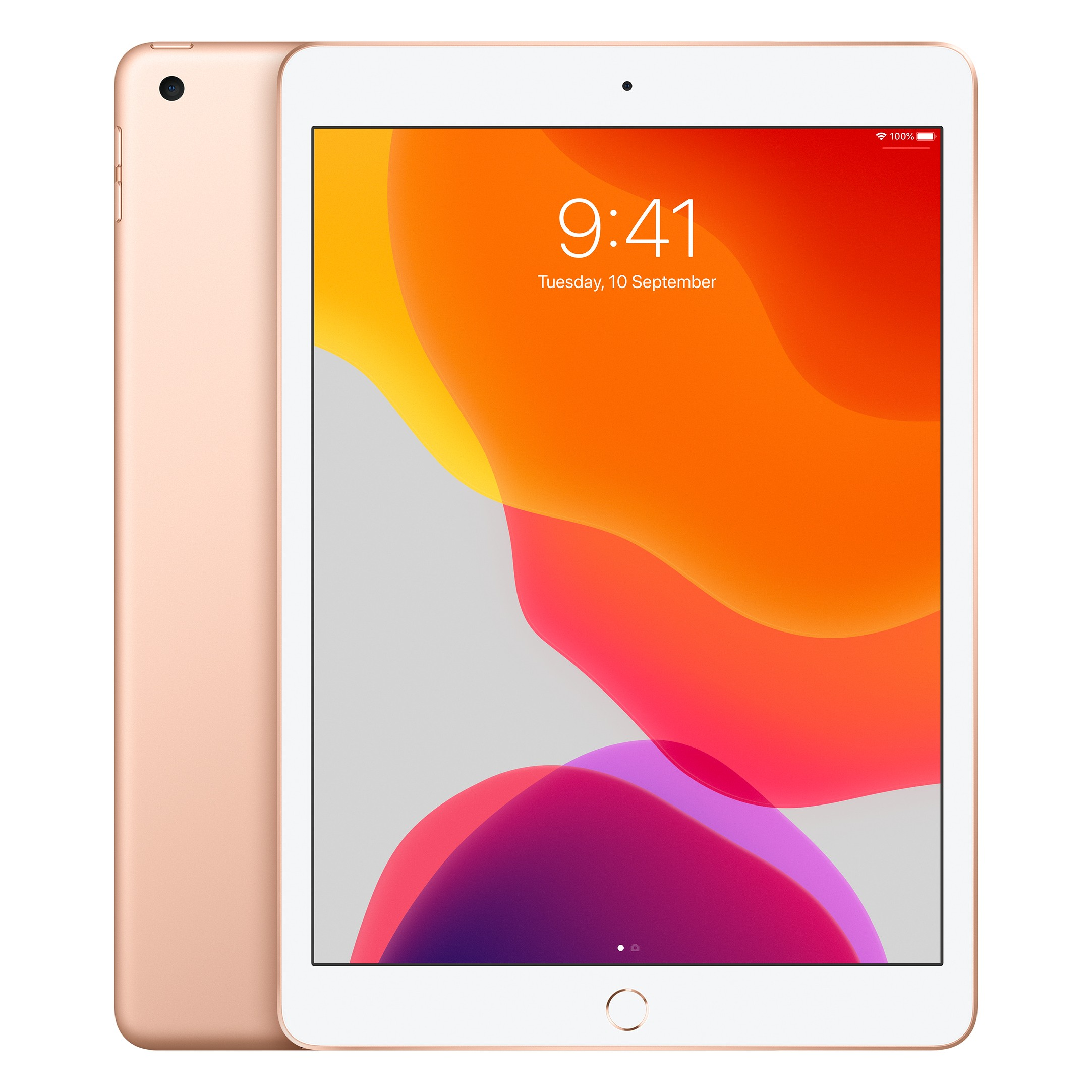 Apple iPad 10.2 (2020) 128GB Wifi with Screen Protector and Folding Case (Black) - Gold