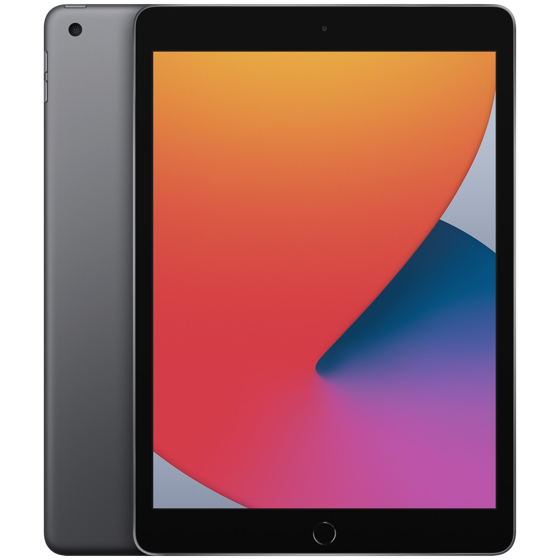 Apple iPad 10.2 (2020) 128GB Wifi with Screen Protector and Folding Case (Black) - Space Gray