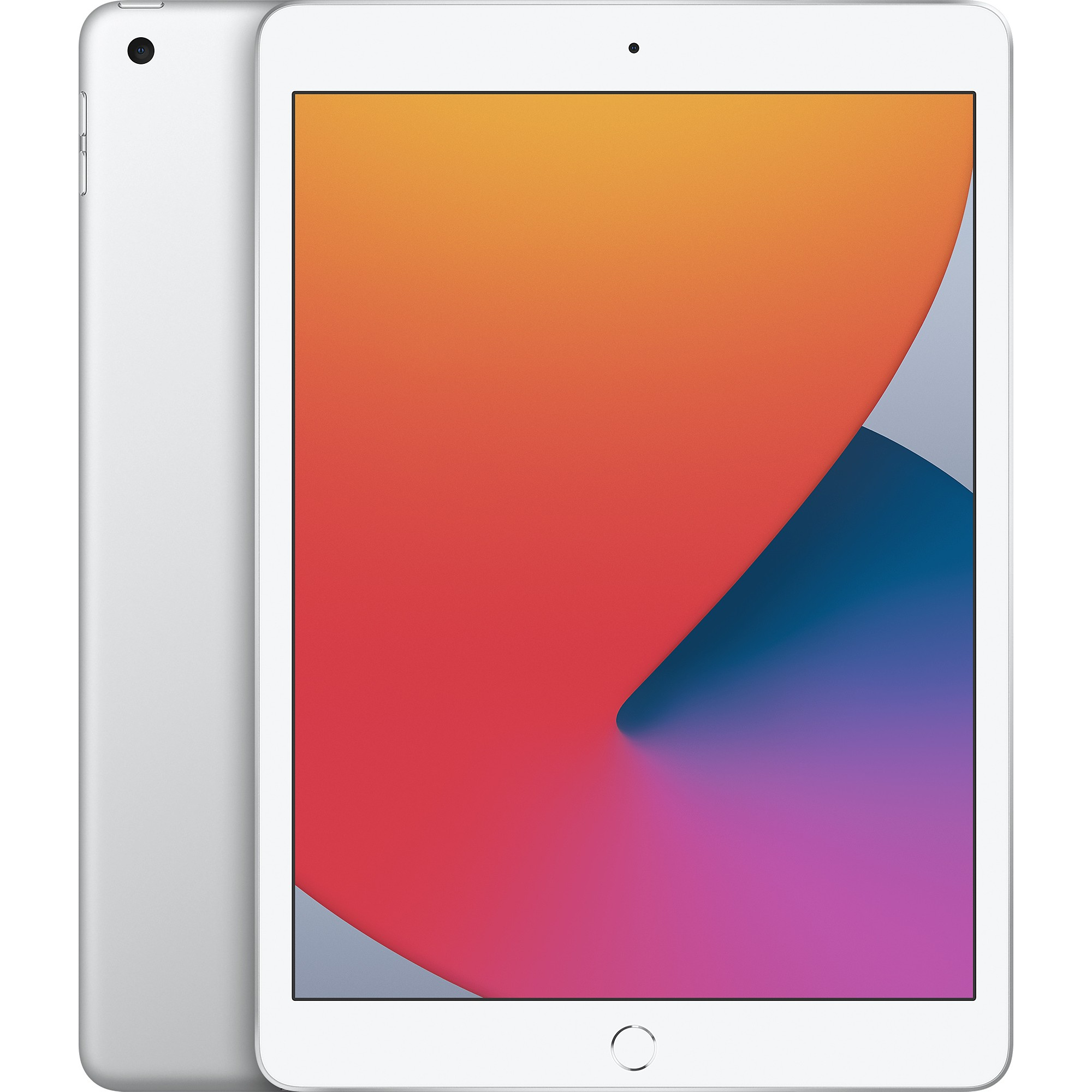 Apple iPad 10.2 (2020) 128GB Wifi with Screen Protector and Folding Case (Black) - White Silver