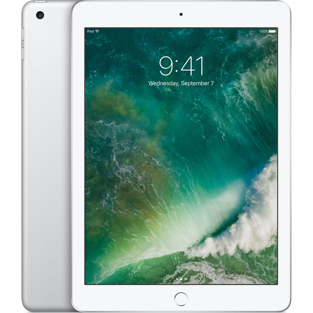 "Image of Apple iPad 9.7"" (2017) 128GB Wifi with Premium Folding Case (Black) - White Silver"