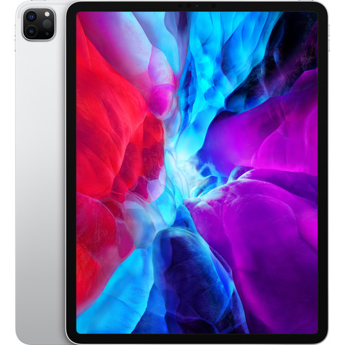 """Apple iPad Pro 12.9"""" (2020) Wifi 1TB with Screen Protector and Folding Case (Black) - White Silver"""