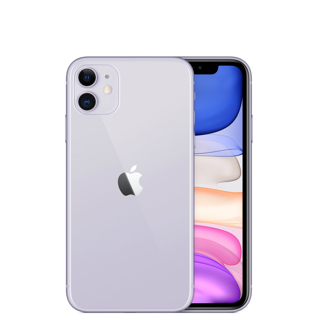 Image of Apple iPhone 11 128GB A2221 (nano-SIM+ eSIM) with Tempered Glass Screen Protector - Purple