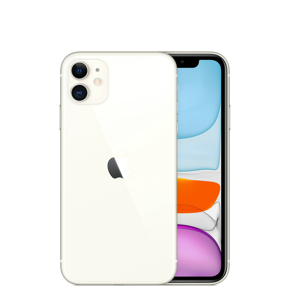 Image of Apple iPhone 11 64GB A2221 (nano-SIM+ eSIM) with Tempered Glass Screen Protector - White