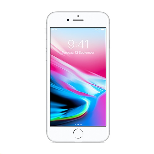 Apple iPhone 8 64GB A1863 With Tempered Glass Screen Protector for iPhone 8 - Silver cheapest retail price