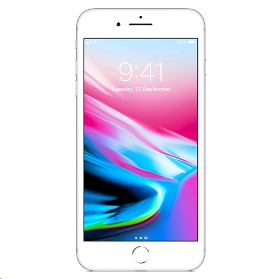 Apple iPhone 8 Plus 64GB A1864 With Tempered Glass Screen Protector for iPhone 8 Plus Silver cheapest retail price