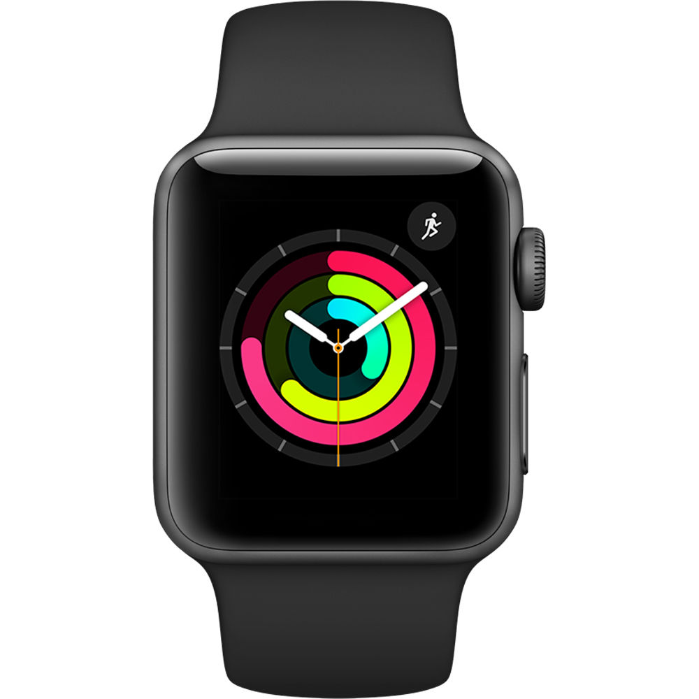 Apple Watch Series 3 38mm Space Gray Aluminium Case with Black Sport Band MQKV2 cheapest retail price