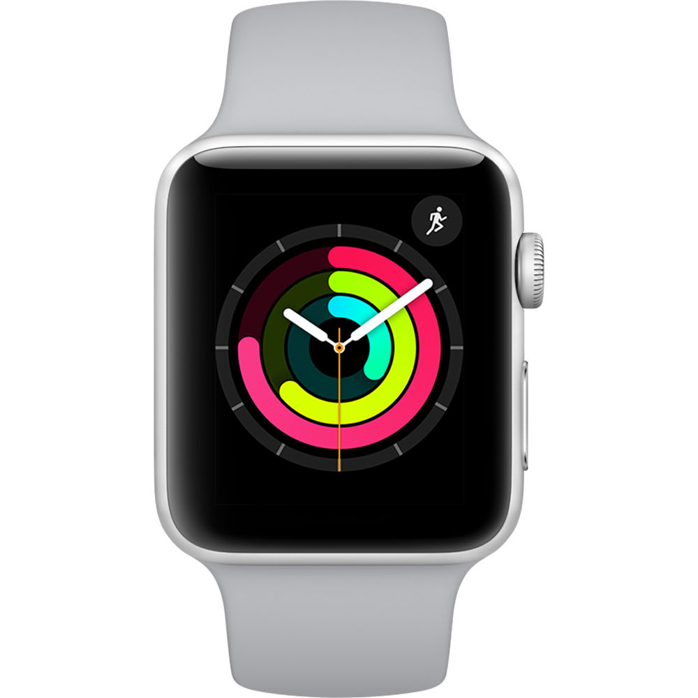 Image of Apple Watch Series 3 MTEY2 - 38mm Silver Aluminium Case with White Sport with 3D Curved Premium Tempered Glass Screen Protector (Full Adhesive)