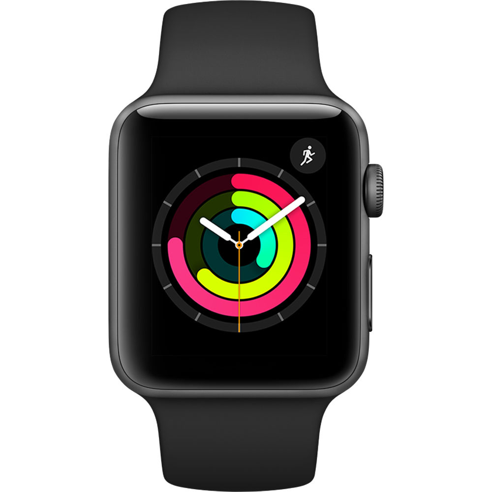 Image of Apple Watch Series 3 - 42mm Space Gray Aluminium Case with Black Sport with 3D Curved Premium Tempered Glass Screen Protector (Full Adhesive) - MQL12