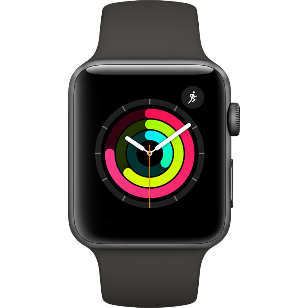 Apple Watch Series 3 42mm Space Gray Aluminium Case with Gray Sport with 3D Curved Premium Tempered Glass Screen Protector Full Adhesive MR362 cheapest retail price