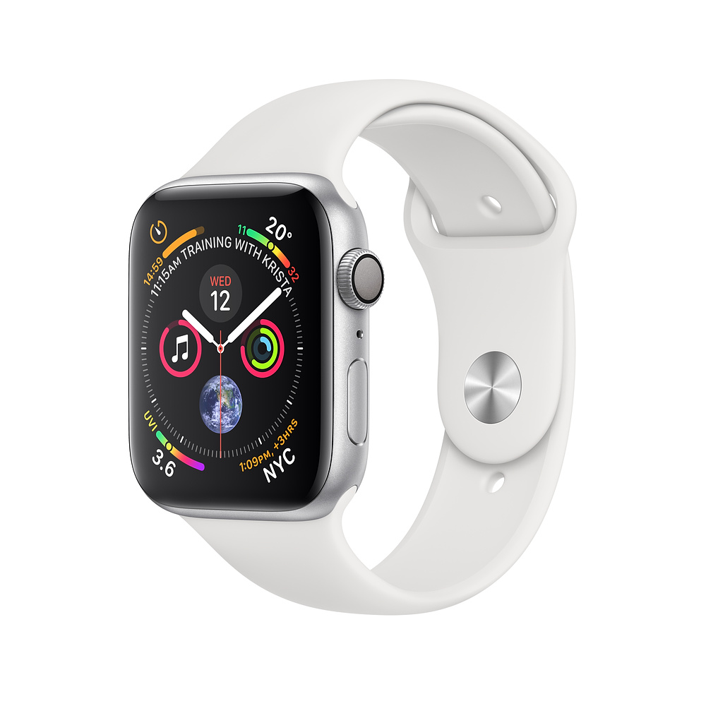 Apple Watch Series 4 GPS - 40mm Silver Aluminum Case with White Sport Band with 3D Curved Premium Tempered Glass Screen Protector (Full Adhesive) - MU642 cheapest retail price