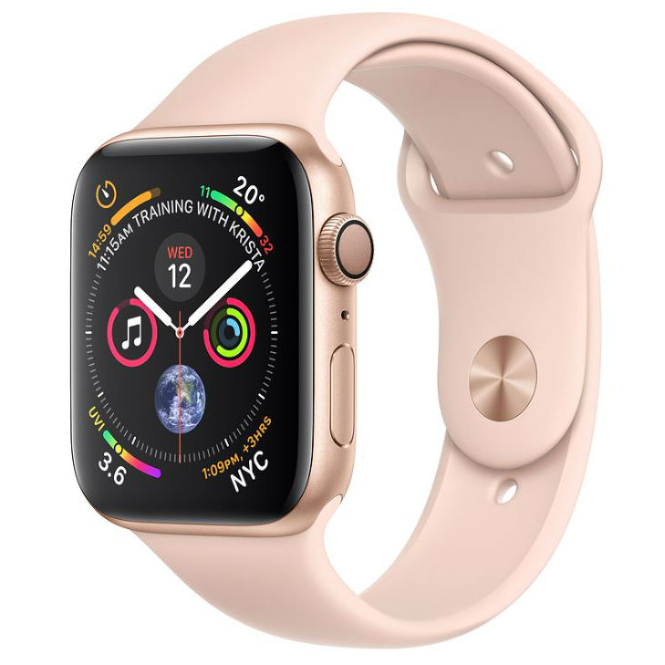 Apple Watch Series 4 GPS 44mm Gold Aluminum Case with Pink Sand Sport Band with 3D Curved Premium Tempered Glass Screen Protector Full Adhesive MU6F2 cheapest retail price