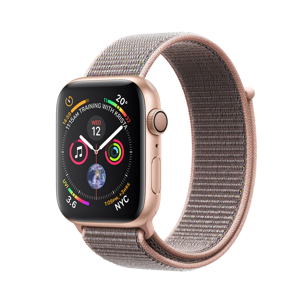 Apple Watch Series 4 GPS - 44mm Gold Aluminum Case with Pink Sand Sport Loop with 3D Curved Premium Tempered Glass Screen Protector (Full Adhesive) - MU6G2 cheapest retail price