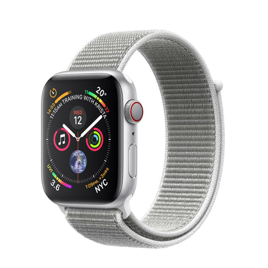 Apple Watch Series 4 GPS 44mm Silver Aluminum Case with Seashell Sport Loop with 3D Curved Premium Tempered Glass Screen Protector Full Adhesive MU6C2 cheapest retail price
