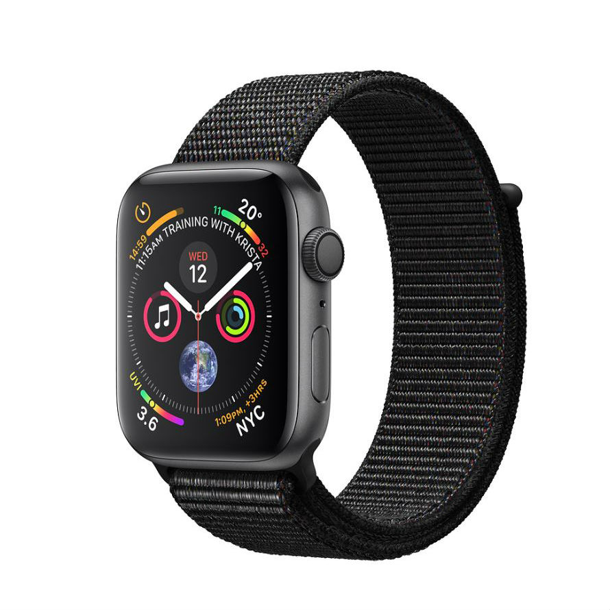 Apple Watch Series 4 GPS 44mm Space Gray Aluminum Case with Black Sport Loop with 3D Curved Premium Tempered Glass Screen Protector Full Adhesive MU6E2 cheapest retail price