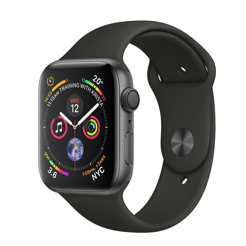 Apple Watch Series 4 GPS - 44mm Space Gray Aluminum Case with Black Sport Band with 3D Curved Premium Tempered Glass Screen Protector (Full Adhesive) - MU6D2 cheapest retail price