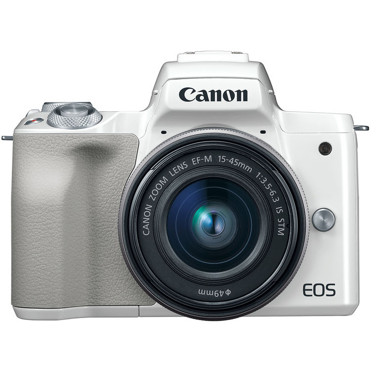 Image of Canon EOS M50 Mirrorless Digital Camera with EF-M 15-45mm camera Kit with LP-E12 battery - White