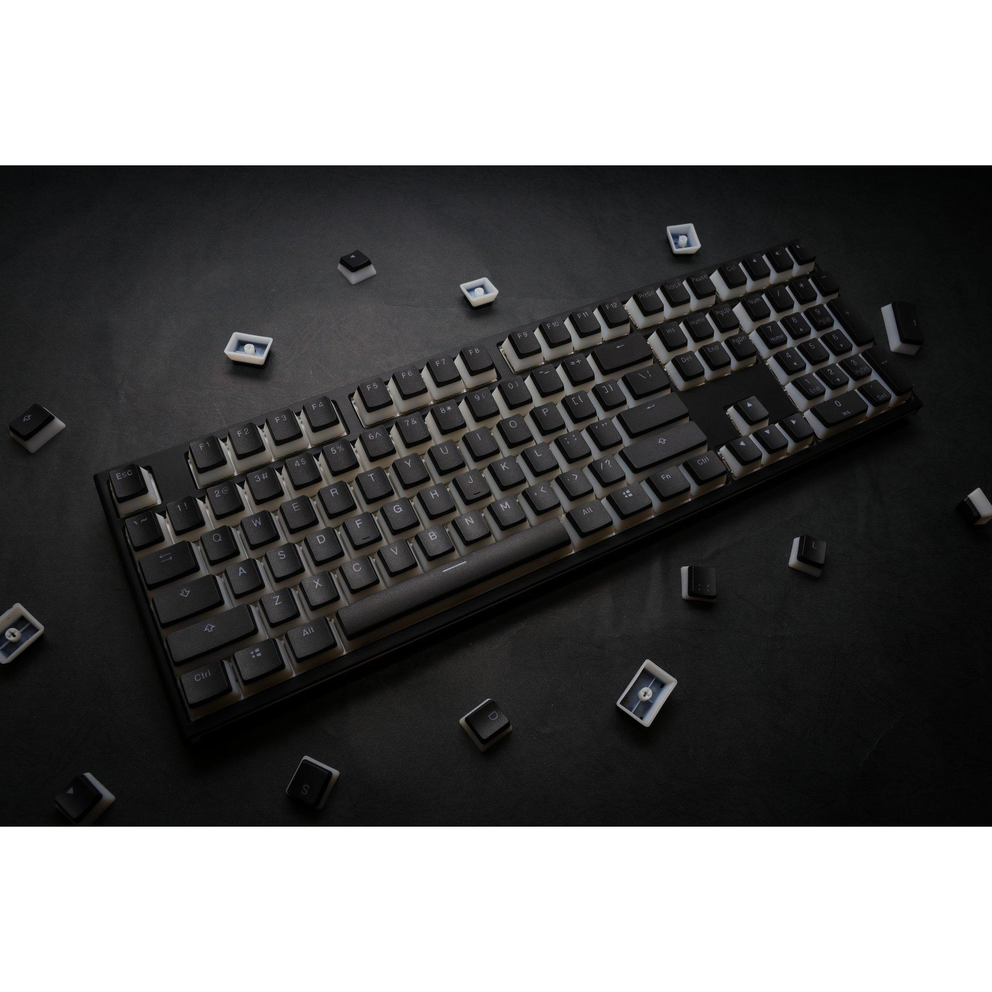 Image of Ducky One 2 Pudding Edition RGB LED Double Shot PBT Silent Red Cherry MX Mechanical Keyboard - Black/White (DKON1808ST-SUSPDAZTP) (US Layout)