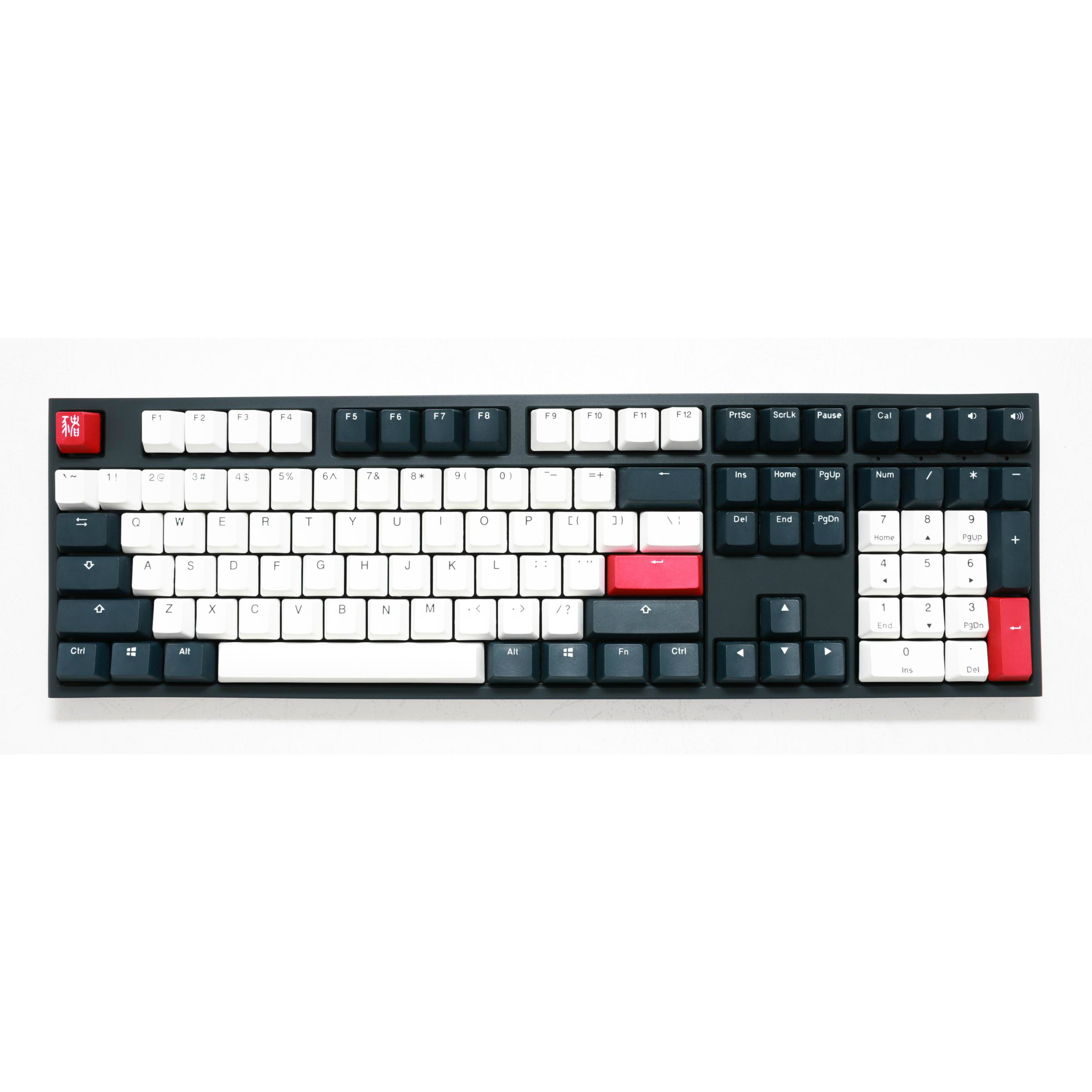 Image of Ducky One 2 Tuxedo Double Shot PBT Cherry MX Silent Red Mechanical Keyboard - Black + White (DKON1808-SUSPDZZBX) (US layout)
