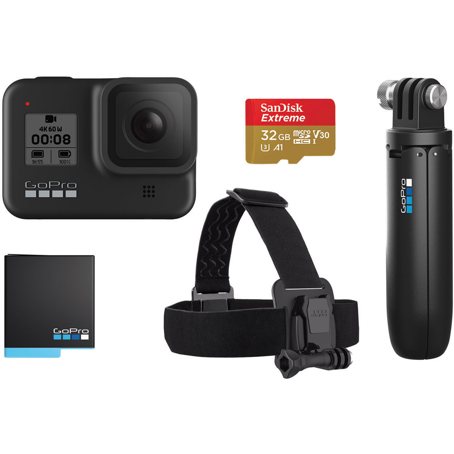 Image of GoPro HERO8 Black 4K Action Camera (Special bundle Accessory kit) (Shorty, head strap, battery & 32GB micro SD)