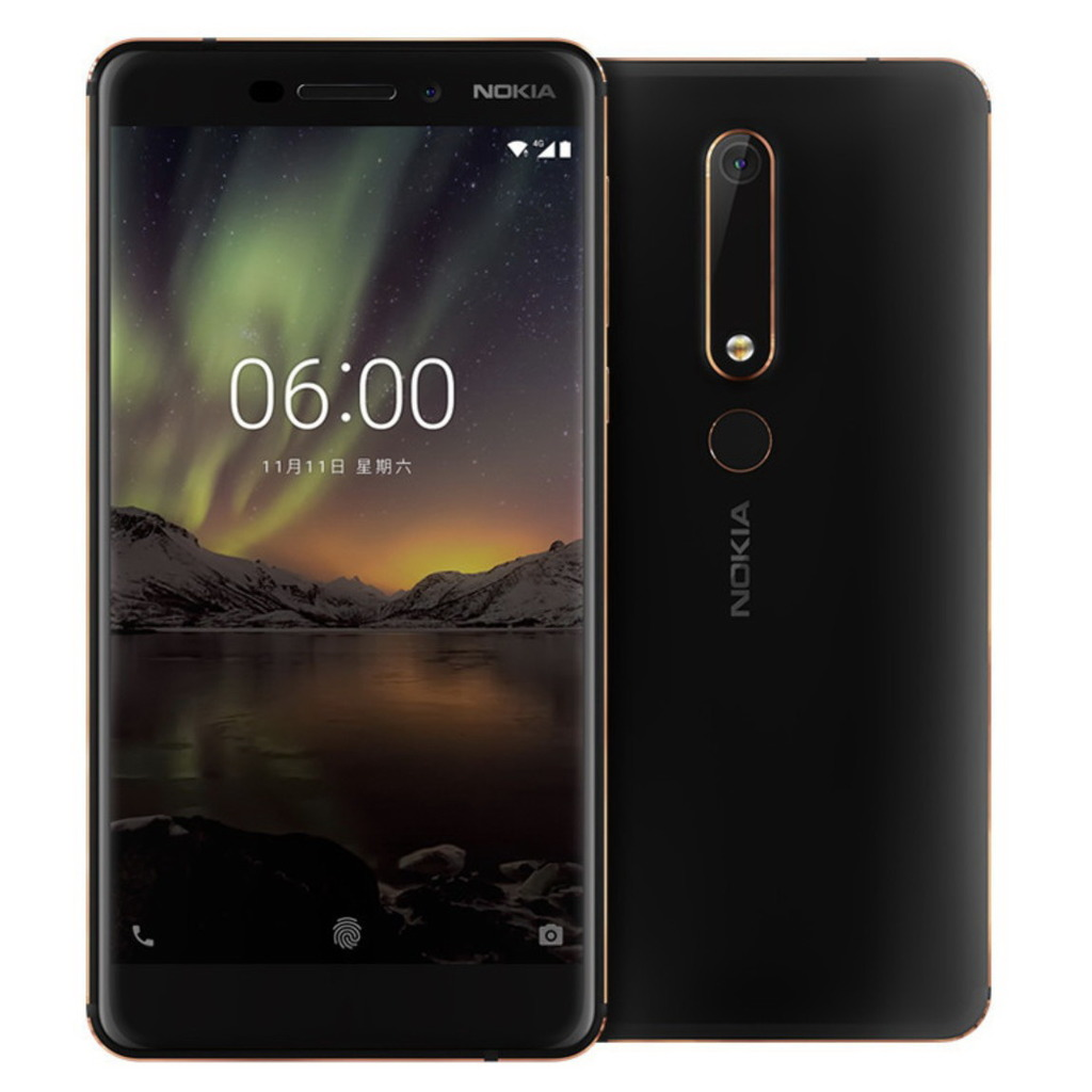 Image of Nokia 6 (2018) 4GB/64GB TA-1068 Dual Sim SIM FREE/ UNLOCKED - Black (Nokia 6.1) without Handsfree with 0.3mm Tempered Glass Screen Protector