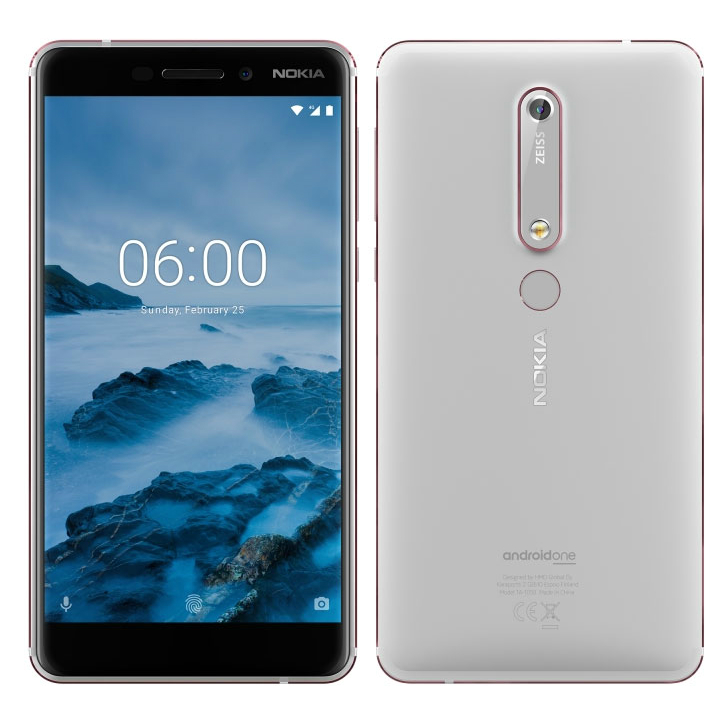 Image of Nokia 6 (2018) 4GB/64GB Dual Sim TA-1068 SIM FREE/ UNLOCKED - White (Nokia 6.1) without Handsfree