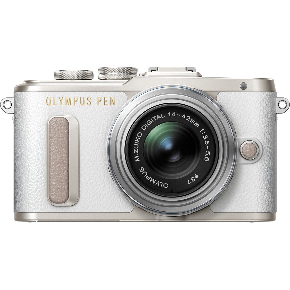 Image of PEN E-PL8 Body with 14-42mm EZ Lens Mirroless Digital Cameras - White