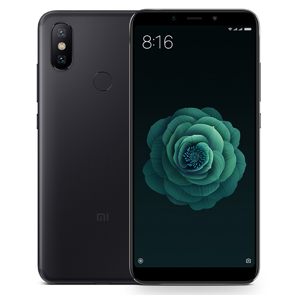 Image of Xiaomi Mi A2 4GB/64GB Dual Sim SIM FREE/ UNLOCKED with 3D Curved Premium Tempered Glass Screen Protector (Black Edge) - Black
