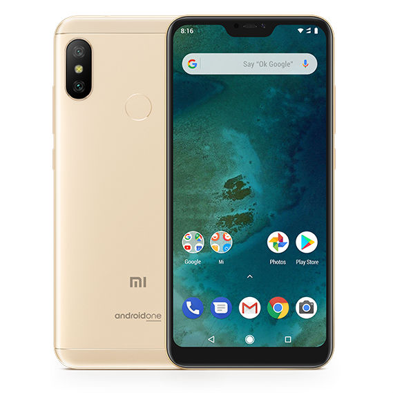 Image of Xiaomi Mi A2 Lite 3GB/32GB Dual Sim SIM FREE/ UNLOCKED with 3D Curved Premium Tempered Glass Screen Protector (Black Edge) - Gold