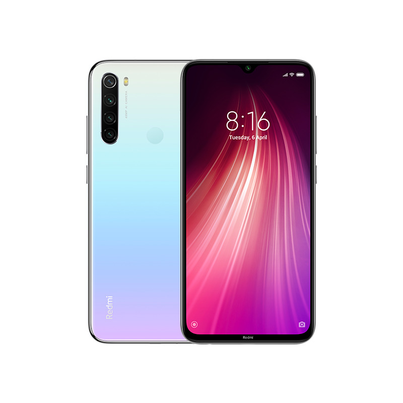 Image of Xiaomi Redmi Note 8 3GB/32GB Dual Sim with Screen Protector and Folding Case (Black) - Moonlight White